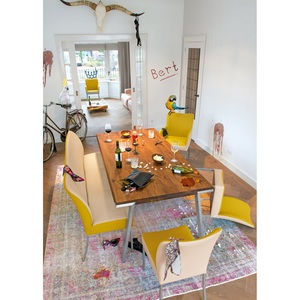 Stuhl Stoffbezug Mustard/Leder Latte