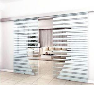 Home Deluxe Doppelglasschiebetür mit Streifendesign und Muschelgriff, 2x100cm