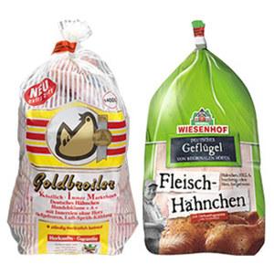 Wiesenhof Fleisch-Hähnchen oder Goldbroiler HKl. A, bratfertig, gefroren, jedes 1,4-kg-Stück