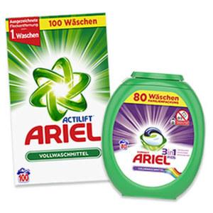 Ariel Waschmittel 100/80 Waschladungen versch. Sorten, jede Packung