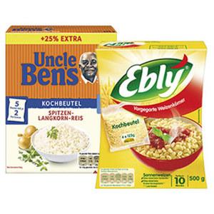 Uncle Ben's Reis oder Ebly Zartweizen versch. Sorten, jede 500 + 25% gratis = 625-g-Bonuspackung/500-g-Packung