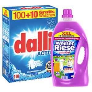 Weißer Riese 65+5 Waschladungen oder Dalli Waschmittel 100 + 10 Waschladungen, versch. Sorten, jede Packung/Flasche