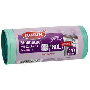 RUBIN Müllbeutel mit Zugband 60 l