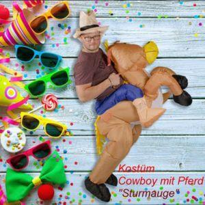 Aufblasbares Kostüm Cowboy mir Pferd Sturmauge Karneval Fasching Wilder Westen