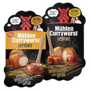 Rügenwalder Mühlen Currywurst gegrillt oder Mühlen Currywurst Geflügel jede 220-g-Packung
