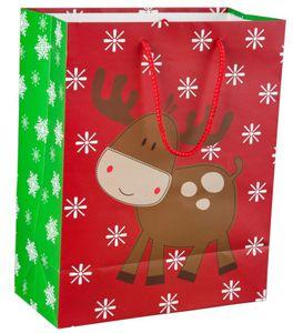 Geschenktasche - Rentier, groß - 26x32,5x12,5 cm