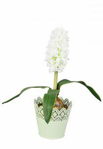 Blumentopf - aus grünem Metall - 16x11x14,5 cm