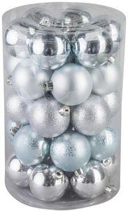 Christbaumkugeln - aus Kunststoff - hellblau - 30 Stück
