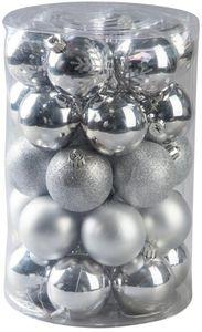 Christbaumkugeln - aus Kunststoff - silber - 30 Stück