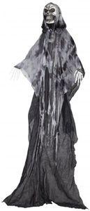 Skelett zum Hängen - mit schwarz/grauen Stofffetzen - 210 cm
