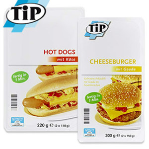 Hot Dogs oder Cheeseburger 220/300-g-Packung, ab 2 Packungen