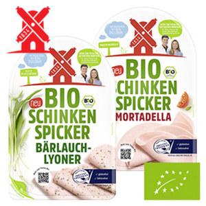 Bio-Schinken Spicker, Mortadella oder Bärlauch-Lyoner, jede 80-g-SB-Packung
