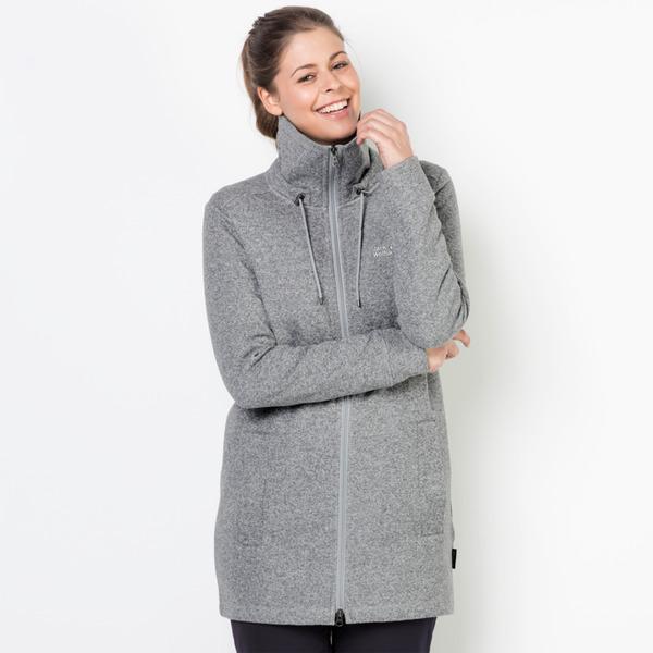 Jack Wolfskin Fleecemantel Frauen Finley Long Jacket Women L slate grey 34f90217c1