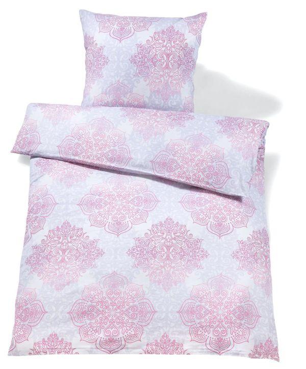 Feinbiber Bettwäsche Ca 135 X 200 Cm Mit Rosa Ornamenten Von Netto