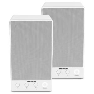 Sparpaket - 2 x MEDION LIFE P61084 WLAN Multiroom Lautsprecher, WLAN zur Einbindung ins Heimnetz, DLNA, USB, AUX-In, Steuerung über App, weiß