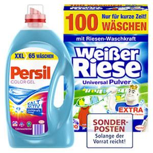 Persil Waschmittel XXL 65/60 Waschladungen oder Weisser Riese Waschmittel 100 Waschladungen, versch. Sorten, jede Packung/Flasche