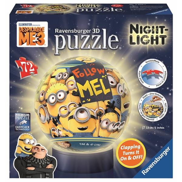 Minions wie NEU !!! !! Ravensburger 3D Puzzle+Nachtlich