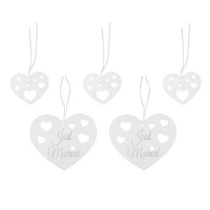Deko-Herzen zum Aufhängen weiß, 5er-Set