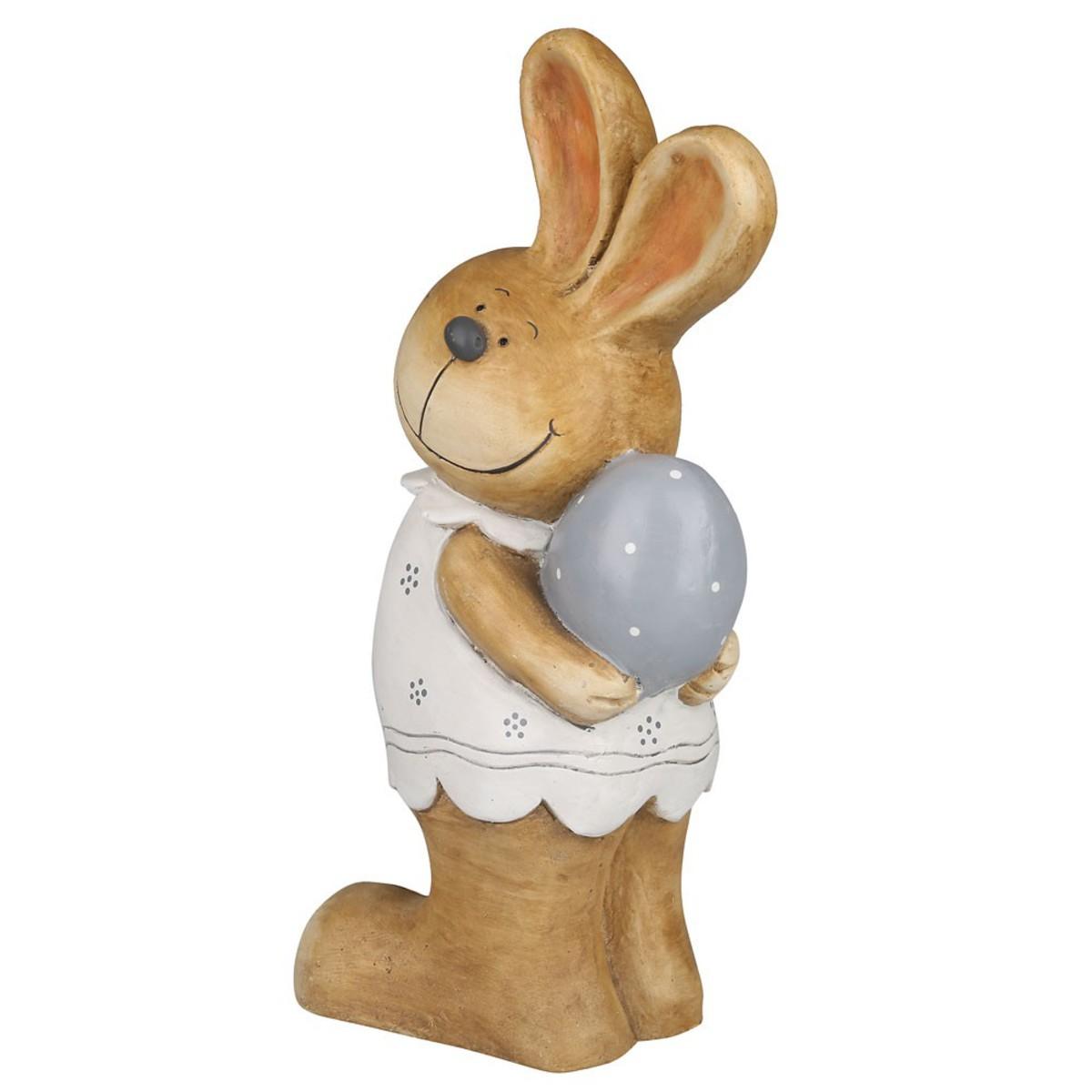 Bild 2 von Deko-Hase aus Keramik braun Mädchen mit Ei 48,5 cm