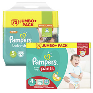 Pampers Windeln baby-dry oder pants,  jede Jumbo+ Packung