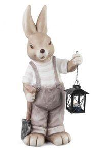 Junge-Hase mit Laterne - aus Magnesia, Größe: ca. 22x16x50 cm