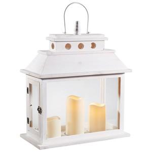 XXXL Laterne inkl. LED-Kerzen Weiß, Weiß