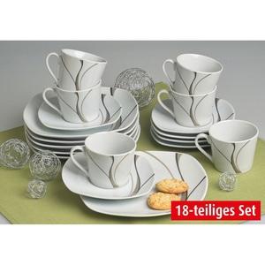 flirt by Michael Fischer Kaffeeservice 18 teilig SCIROCCO Weiß mit grauem Dekor