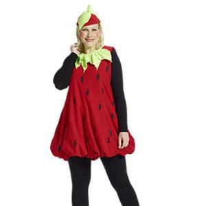 Damen-Kostüm Plüsch-Erdbeere
