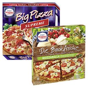Wagner Die Backfrische Mozzarella Kirschtomate 350 g oder Big Pizza Supreme 420 g gefroren, jede Packung und weitere Sorten
