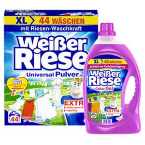 Weißer Riese Waschmittel 44 Waschladungen, versch. Sorten,  je Packung/Flasche