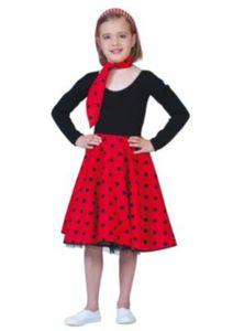 Kostüm Rock´n Roll Rock rot one size, 2-tlg. Mädchen Kinder