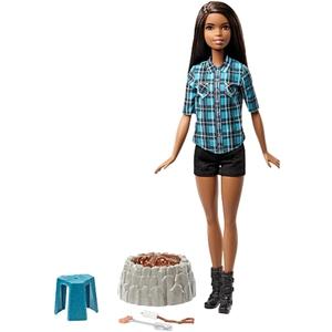 Barbie - Lagerfeuer-Set Puppe, Brünett (FDB45)