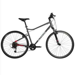 """Fahrrad 28"""" Cross Trekkingrad Riverside 500 Alu grau/rot B'TWIN"""