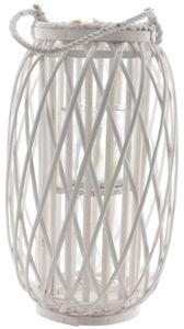Windlicht - mit weißer Weide ummantelt - 27 x 45 cm