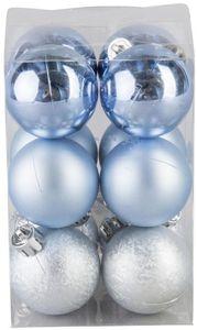 Christbaumkugeln - aus Kunststoff - hellblau - 12 Stück