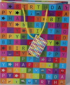 Happy Birthday - Geschenktüte - bunte Kästchen