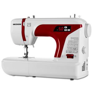MEDION Dig. Nähmaschine MD 16661, Knopflochautomatik, 50 versch. Stichmuster, LED-Nählicht, umfangreiches Zubehör, rot-weiß