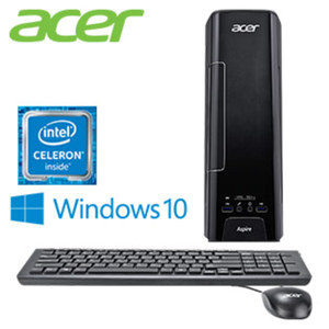 Acer Aspire XC-730 mit Intel® Celeron® Prozessor J3355 (bis zu 2,5 GHz) · Intel® HD Graphics · 4 x USB 3.0, HDMI, VGA · WLAN, Gigabit Ethernet, Bluetooth® 4.2 · DVD-Laufwerk, Cardreader, 5.1-
