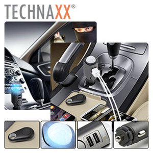 Autoalarmanlage mit Ladefunktion TX-100, Akku 450 mAh, 2 USB-Ladeanschlüsse, Fernbedienung zum Aktivieren/Deaktivieren des Alarms