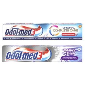 Odol-med3 Zahncreme White&Shine, Samtweiss oder Complete Care, jede 75-ml-Packung