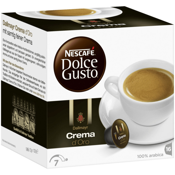 nescaf dolce gusto dallmayr crema d 39 oro 120g 16 kapseln von rewe ansehen. Black Bedroom Furniture Sets. Home Design Ideas