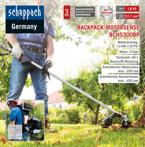 Scheppach 2in1 Backpack-Motorsense BCH5300BP