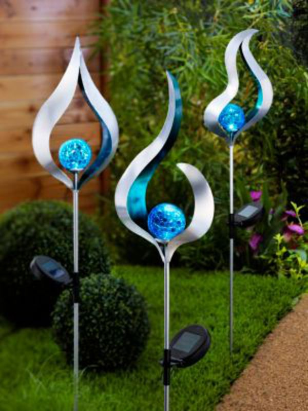 "Solar-Gartenstecker ""Blue"", 3er-Set"