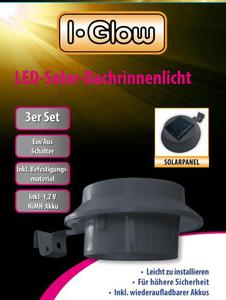 LED Solar Dachrinnenlichter Set 3tlg. in anthrazit