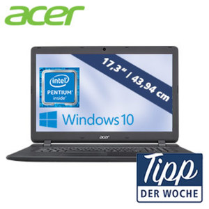 Acer Aspire ES 17 ES1-732-P6LA Intel® Pentium® Prozessor N4200 (4 x bis zu 2,5 GHz Burst-Frequenz) • HD+-Display mit LED Backlight • Intel® HD Graphics 505 • HDMI, 1 x USB 3.0, 2 x USB 2.0