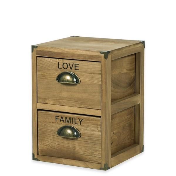 Holz Kommode Love Mit 2 Schubladen 25 X 25 X 35 Cm Von Jawoll