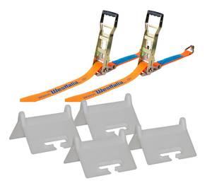 Zurrgurt 4 - teilig 8 Meter/ 5000 Dekanewton, Orange + 4 x Kantenschutz für 50 mm Zurrgurt Westfalia