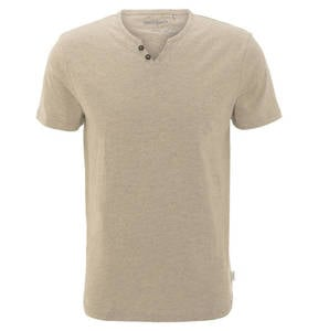 manguun             T-Shirt, uni, Bio-Baumwolle, Knopfleiste