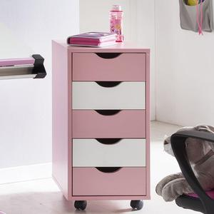 WOHNLING Rollcontainer MINA, Rosa/ Weiß