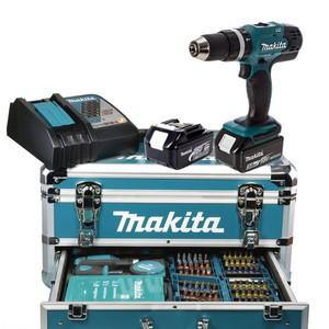 Makita DHP453RFX2 18 V / 2x 3,0 Ah im Alukoffer inkl. 96-tlg Zubehörset